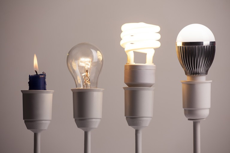 Innovation: candle, lightbulb, LED