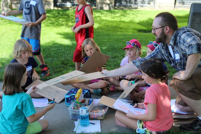 MacRostie Art Center hosting kids at art in the Park, a partnership with Minneapolis College of Art and Design; Photo by Ian Hanesworth