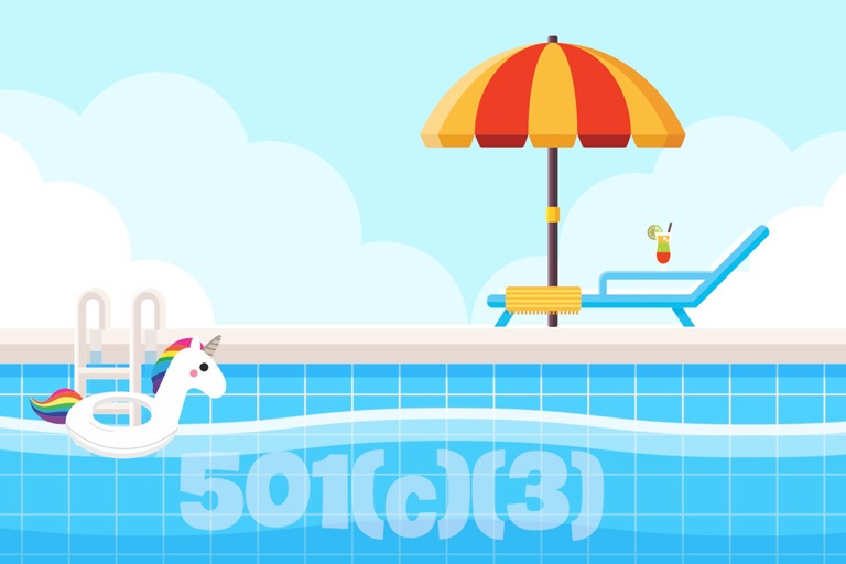 Starting a 501(c)(3) is like jumping into the deep end of the pool; fiscal sponsorship allows you to wade in. [Unicorn floaty pictured in pool.]