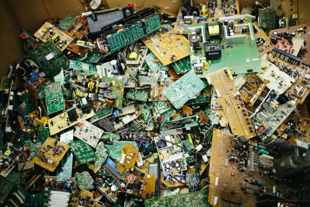 Pile of circuitboards to be recycled