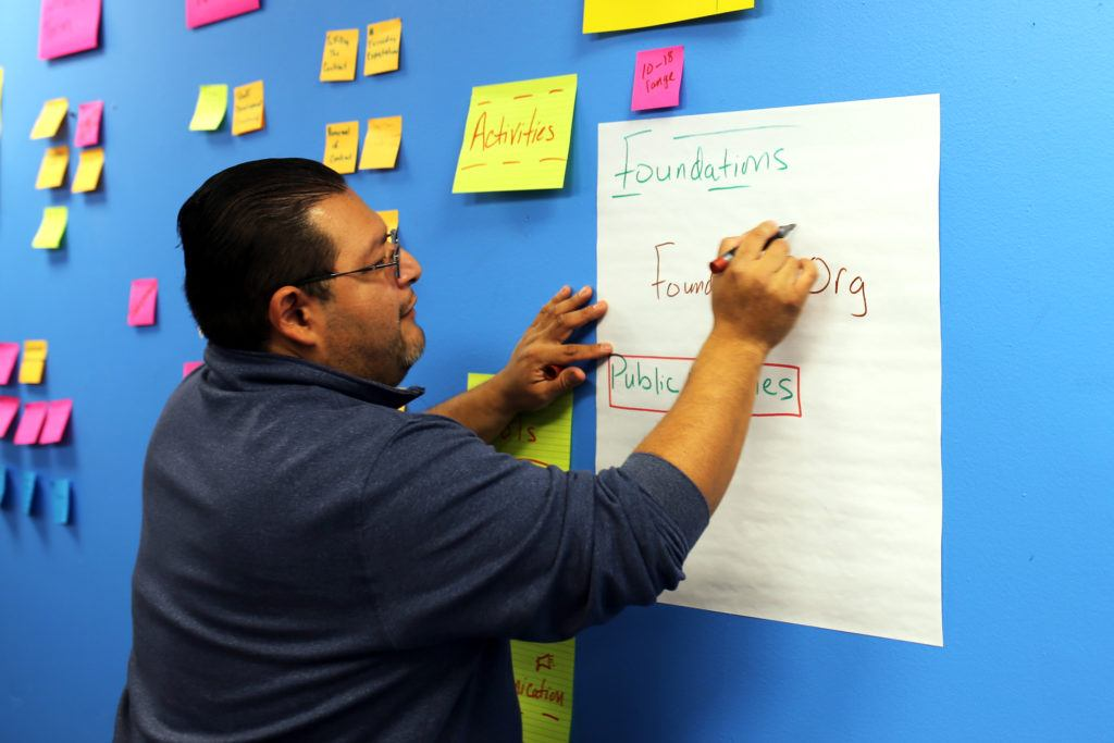Man writing on large white paper on blue wall
