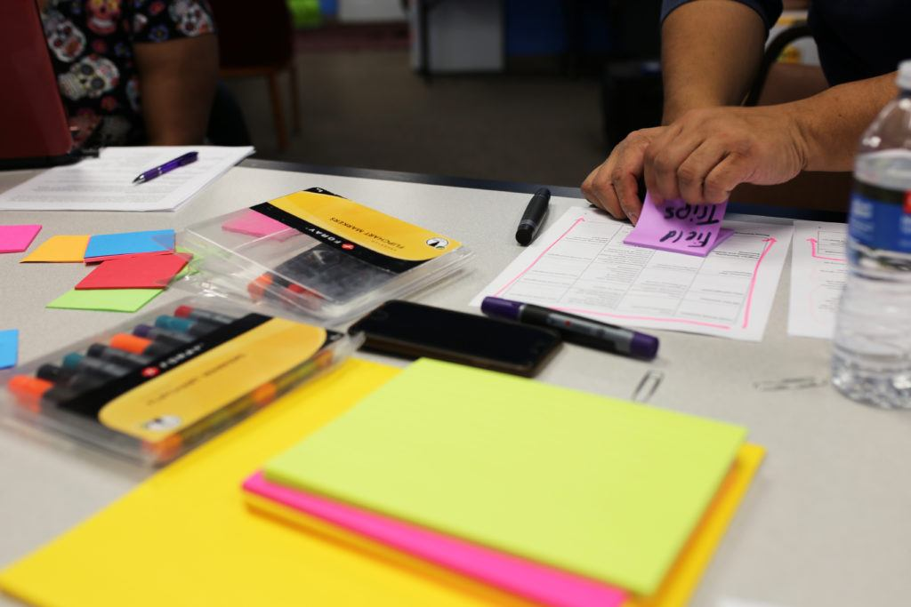 Post-it notes and markers on a table