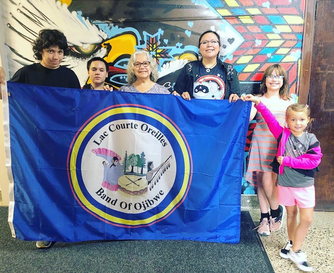 Bdote Students with LCO flag