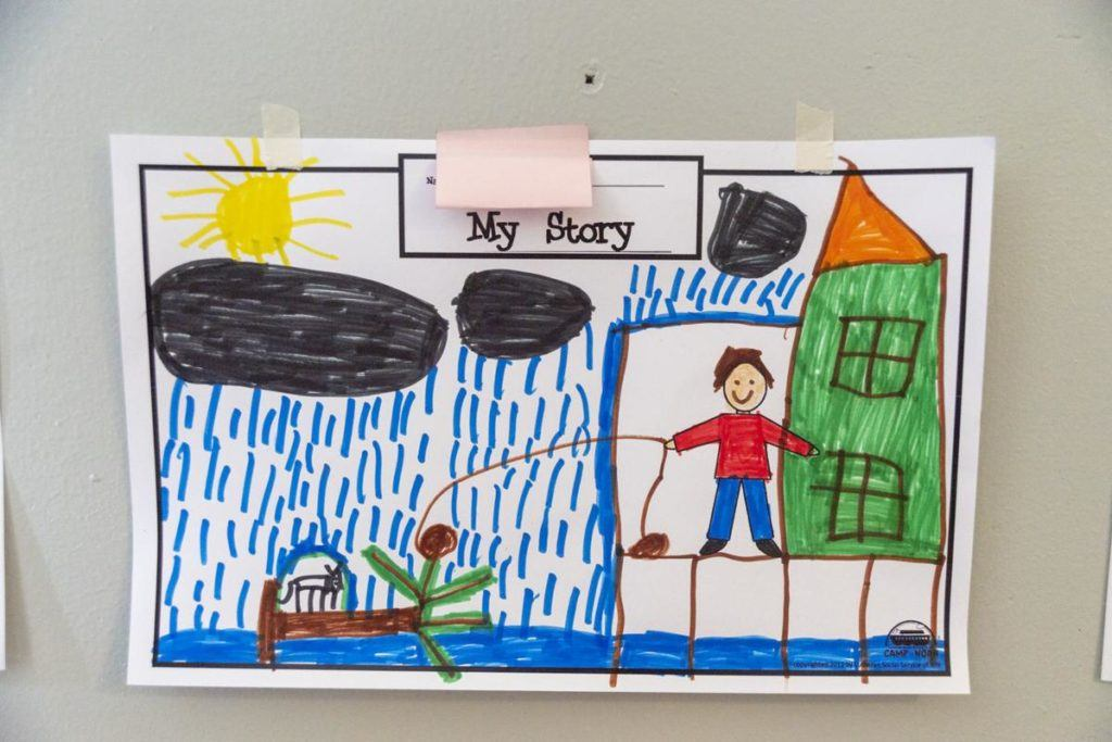 A child's painting of their experience with a natural disaster