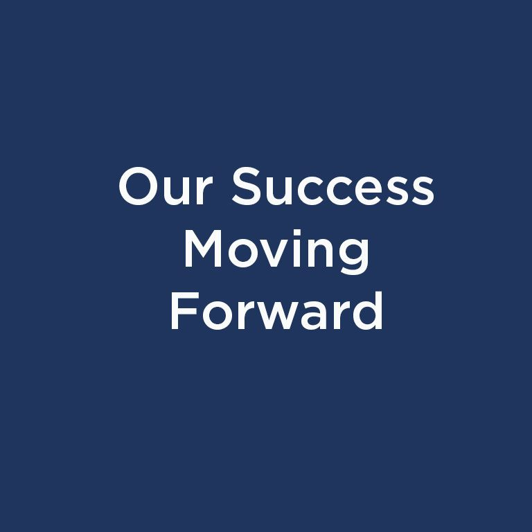 Our Success Moving Forward white text on blue background
