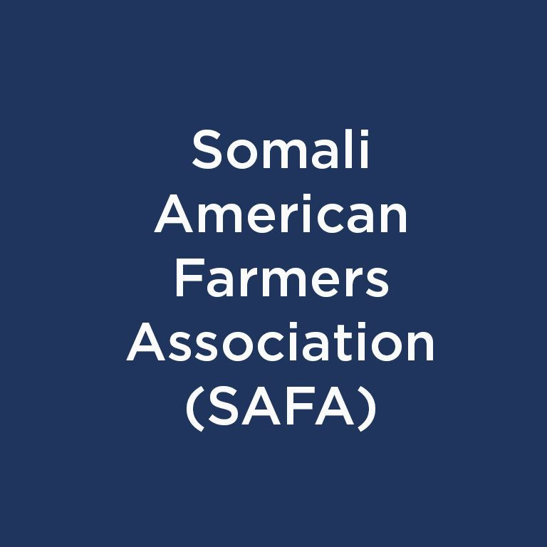 Somali American Farmers Association (SAFA) white text on blue background