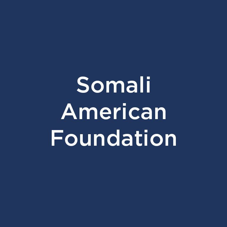 Somali American Foundation white text on blue background